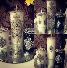 NEW! Personalised BLACK & WHITE henna candle set embellished damask crystal gift