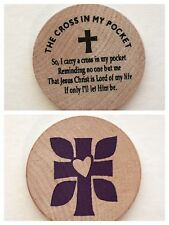 The Cross in My Pocket Religious Verse Wooden Nickel Token Coin