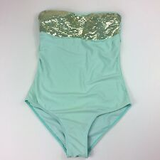 Rad Swimwear One Piece Womens Swim Suit Size Large Mermaid Style Gold Sequins