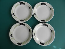 "4 Corelle Black Orchid Green Leaves Dessert Bread & Butter Plates 6 3/4"" Flower"