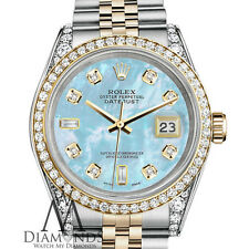 Rolex Stainless Steel - Gold 36 mm Datejust Watch Baby Blue MOP 8+2 Diamond Dial