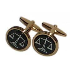 Golden Black Scales of Justice CUFFLINKS Barrister Court Judge Present Gift Box