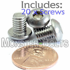 6mm x 1.00 x 8mm - Qty 20 - A2 Stainless Steel BUTTON HEAD Screws  M6-1.0 x 8mm