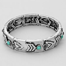 Antique Silver Black and Turquoise Acrylic and Crystal Stretch Bracelet