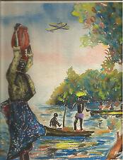 Acuarela Tema Imagenes del golfo de Guinea y Avion en vuelo años 50 Firmada