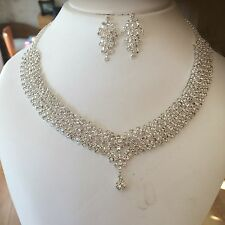 SILVER CLEAR DIAMANTE WEDDING JEWELLERY SET RHINESTONE NECKLACE AND EARRINGS SET