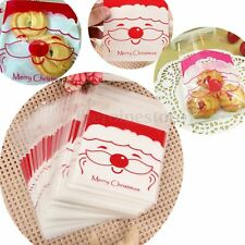 100Pcs 10x10CM Christmas Santa Moustache Cookie Candy  Bags Self Adhesive Xmas