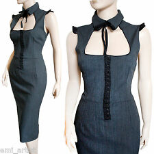 DOLCE & Gabbana D&G grigio CORSETTO Peekaboo Peter Pan Colletto HOT DRESS SIZE 8 4 40