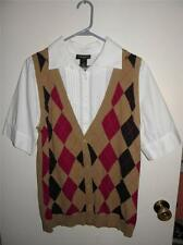 Beautiful! NEW Lane Bryant ARGYLE Sweater VEST Shirt Top size 14/16 _ One Piece