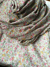 NEW CHIFFON CREPE LIGHT GREY FABRIC, PINK & GREEN FLORAL PRINT MATERIAL, 58'' W