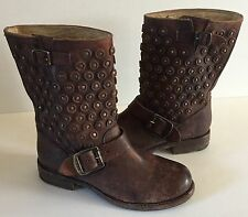 Frye 'Jenna Disc Short' Antiqued Brown Leather Boots size 5.5