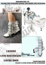 CC88 1/6 Female White Patent Leather Buckle Boots for PHICEN,HOT TOYS