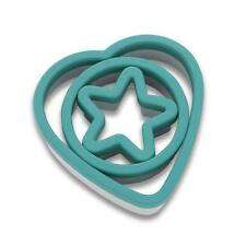 KITCHENAID Deep Teal HEART CIRCLE STAR Cookie Cutter Set of 3 NWT NEW