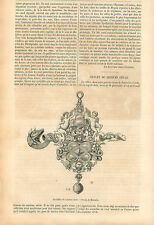 Sifflet Argent Doré Golden Silver Whistle XVIth century GRAVURE OLD PRINT 1857