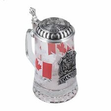 CANADA BEER STEIN German Beer Glass Stein w/ Pewter Lid  German Glass Beer Mug