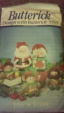 """Butterick #5599 Santa & Mrs. Claus & Elves 11"""" & 9"""" Coffee Can Covers Pattern FF"""