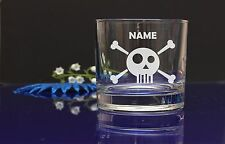 Personalised SKULL WHISKEY GLASS Engraved  Tumbler Whisky Glass/own message
