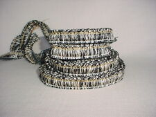 14y FABRICUT HF-FR-2010-35 BLACK / SILVERY WHITE DOMINO FRINGE UPHOLSTERY TRIM