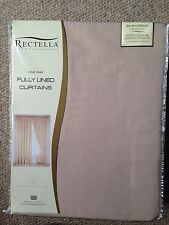 BNIP Rosebys Ready Made Lined Curtains Pale Brown Bedroom 111 x 137cm 44 x 54""