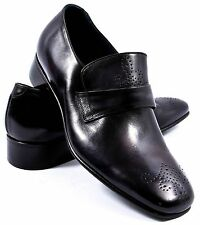 New BERLUTI Black Leather Brogue Loafers Shoes Size 8 $2200