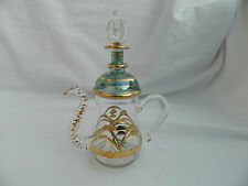 "Tea Pot Hand Blown Egyptian Glass Gold Accent Perfume Bottle Gift 5.5"" # 295"