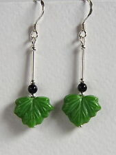 Unusual STERLING SILVER 925 EARRINGS Green Leaf CZECH GLASS Hand Made
