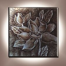 Canvas Wall Art Oil Painting Modern Decor Hand Painted Abstract Silver Flower