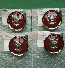 JAGUAR RED SILVER ALLOY WHEEL CENTER CAP BADGES BADGE NEW GENUINE SET OF 4