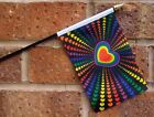 "RAINBOW LOVE SMALL HAND WAVING FLAG 6"" X 4"" WITH POLE GAY PRIDE HEART"
