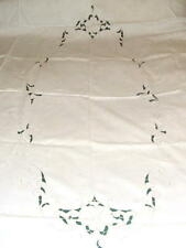 1950s Vintage Hand Embroidered Madeira Cut Work Table Cloth  98 X 60
