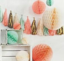 Peach Mint Gold Paper Honeycomb Pompom Balls And Paper Tissue Tassels For Party