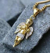 MINI MICRO GOLD ANGEL PIECE PENDANT JESUS PIECE PENDANT CHARM CHAIN NECKLACE