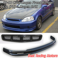 Mu-gen Style Front Lip (Urethane) + Mu-gen Style Grill Fits 99-00 Civic 4dr