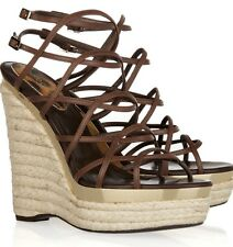 ROBERTO CAVALLI BROWN STRAPPY LEATHER ESPADRILLE WEDGE SANDALS Sz 41 U.S 11 EUC