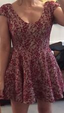 Topshop Occasion Dress Lace Skater Style Evening Dress Flared Skirt Sz 6