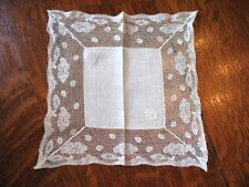 Vintage Lace Hanky Mono RHD Delicate Sweet Child's Valenciennes Lace Border
