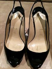 CHRISTIAN LOUBOUTIN LADIES BLACK PATENT SLING BACK  SIZE 38  $1200+  GREAT COND