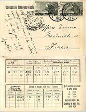 REGNO - Coppia S.FRANCESCO 20c(192) Cartolina tecnica Bondeno 26.7.1927