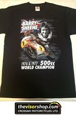 """Barry Sheene "" 500cc World Champion 1976 & 1977  T-SHIRT - Black - S Small"