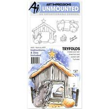 Art Impressions NATIVITY Mini Tryfolds Christmas Cling Stamp Set + Bonus Gel Pen