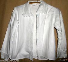 ANTIK  weiße  Damen Bluse  Unterhemd Nachtjacke  Spitze  Loch Stickerei