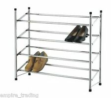 4 TIER 21 PAIR CHROME EXTENDING SHOE RACK STORAGE STAND ORGANISER HOLDER  F53F