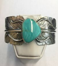 Native American Navajo Sterling Silver Feather Cuff Bracelet With Turquoise
