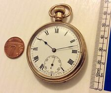 Lovely Gents Sized Antique Gold Filled Pocket Watch Works Well