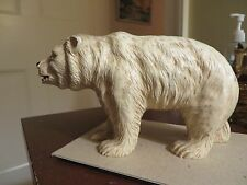 "old vintage toy syroco wood wood composite white polar bear pressed wood 6"" long"