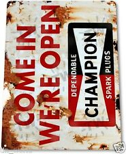 "TIN SIGN ""Champion Open"" Metal Decor Wall Art Garage Shop Farm Store Cave A714"