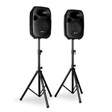"PAIR OF 12"" ACTIVE PA SPEAKERS AND TRIPOD STANDS 700W DJ STAGE KARAOKE PARTY SET"
