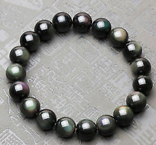 NATURAL Black Rainbow Obsidian stone Bracelet +++AAA QUALITY 8 mm