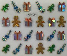 Nail Art 3D Decal Stickers Gingerbread Man Candycanes Presents Christmas YGA007