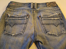 DIESEL Timmen Mens 29x32 Blue Jeans LAB 002140 Straight Wash 0071J Distressed